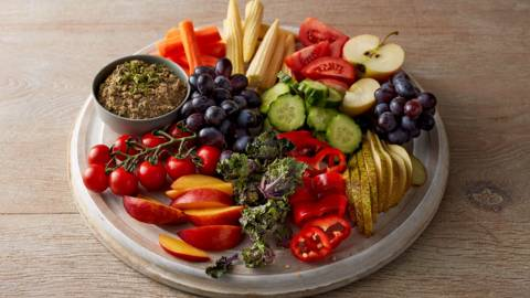 Rainbow platter with kalette pesto dip