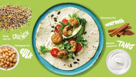 Fruity falafel wrap