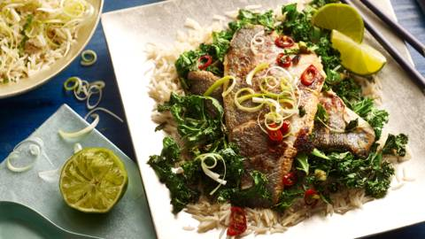 Malaysian style steamed sea bass