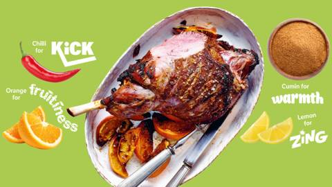 Herby Moroccan-style leg of lamb