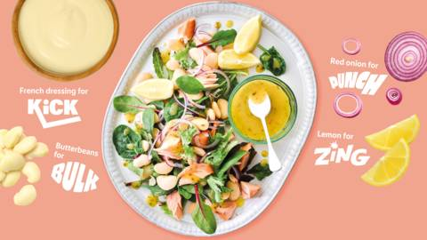 Zingy salmon and butterbean salad