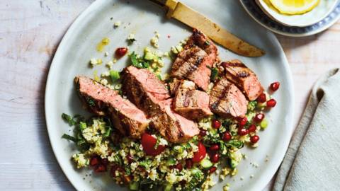 Grilled lamb steaks with minty tabbouleh