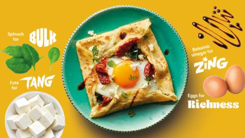 Tangy feta and egg breakfast crepe