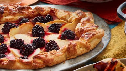 Blackberry and apple galette