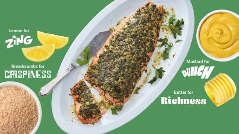 Side of salmon with a punchy herb and mustard crust