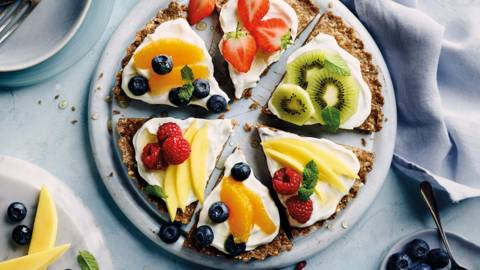 Bran flakes fruit pizza
