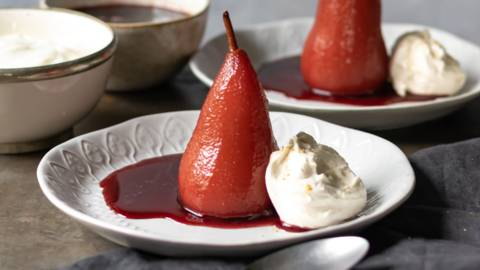 Glühwein poached pears with ginger cream