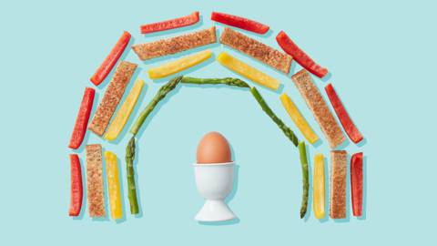 Boiled egg with rainbow soldiers