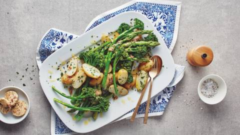 Jersey Royals with anchovy butter and spring vegetables