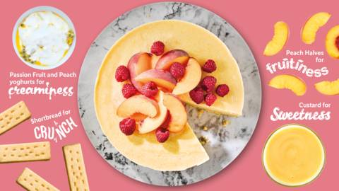 Peach, passion fruit and raspberry froyo cake