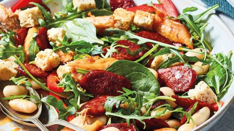 Chorizo, mackerel and butter bean salad