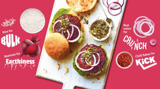 Beetroot vegan burgers with crunchy pumpkin seed pesto