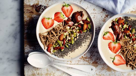 High fibre bran breakfast smoothie bowl