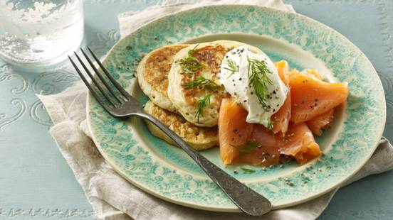 Potato pancakes with smoked salmon and crème fraîche