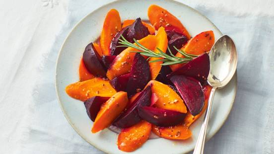 Salt-baked beetroot and carrots with mustard dressing