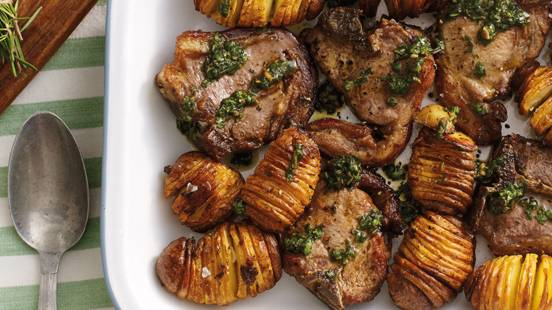 Lamb cutlet with salsa verde and hasselback potatoes