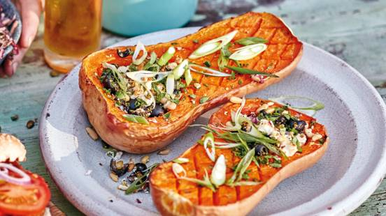 Stuffed BBQ roasted butternut squash