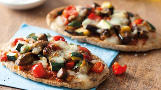 Roasted vegetable pitta pizzas