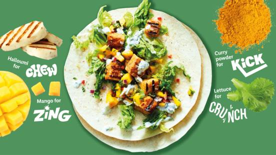 Zingy mango and halloumi wraps
