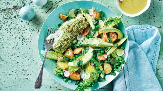Herb crumbed cod with potato, mint and pea salad