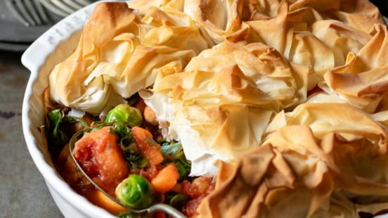 Sweet potato and sprout filo pie