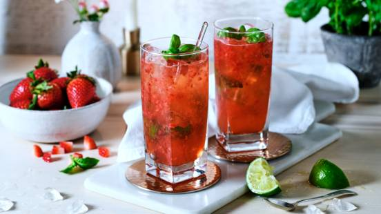 Strawberry and basil mule