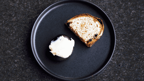 Raisin bread with whipped whisky butter
