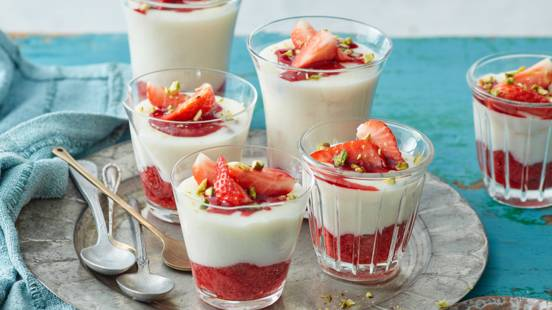 Phirni with strawberry compote