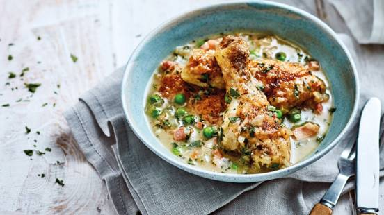 Slow-cooked chicken casserole with pancetta, peas and mint