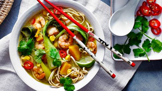 Prawn and squash coconut broth