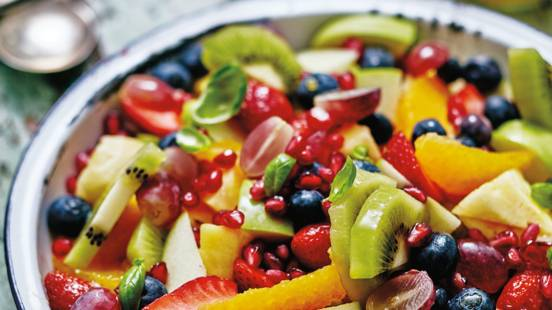 Fruit salad with basil ginger syrup and minted yoghurt
