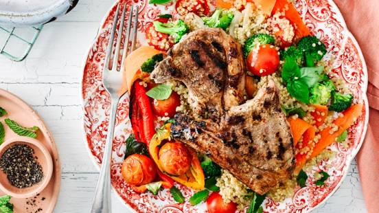 Grilled spiced yoghurt lamb chops with rainbow quinoa salad