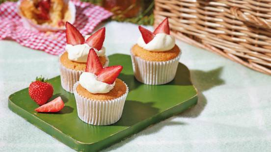 Strawberry cream cakes with Peyton's Fruit Cup