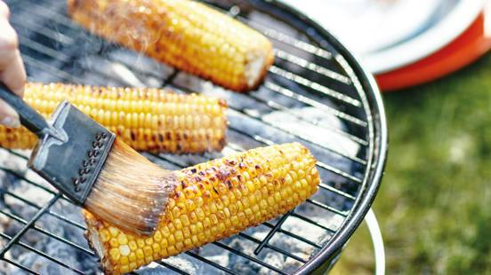 Bourbon butter-basted corn cobs