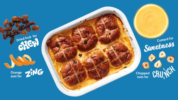 Zesty hot cross bread and butter pudding