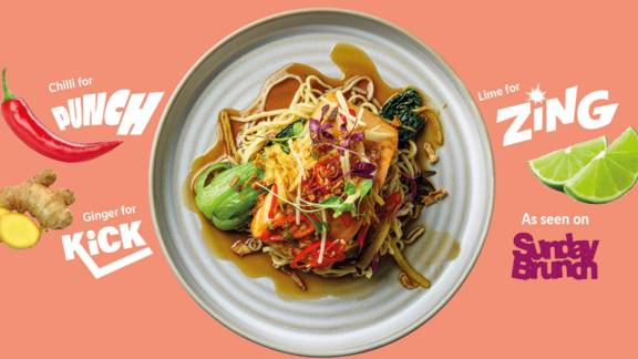 Sweet caramel salmon with noodles