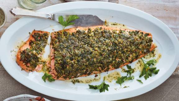 Side of salmon with a herb and mustard crust