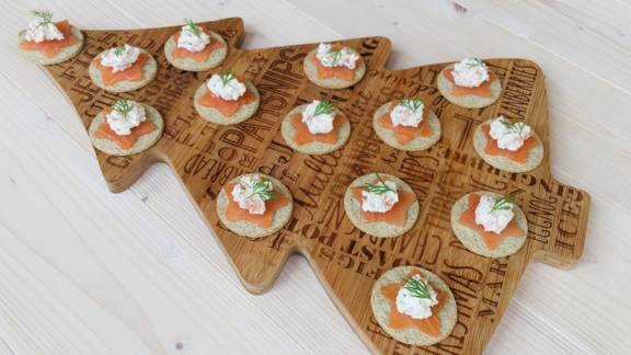 Scottish smoked salmon, crowdie and oatcake canapés