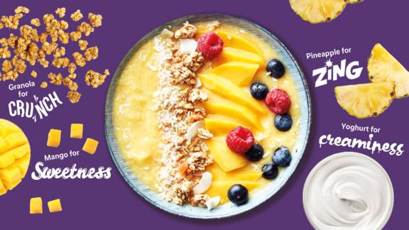 Fresh and zingy tropical smoothie bowl
