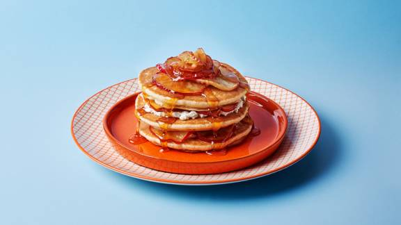 Ricotta, apple and maple syrup pancake stack
