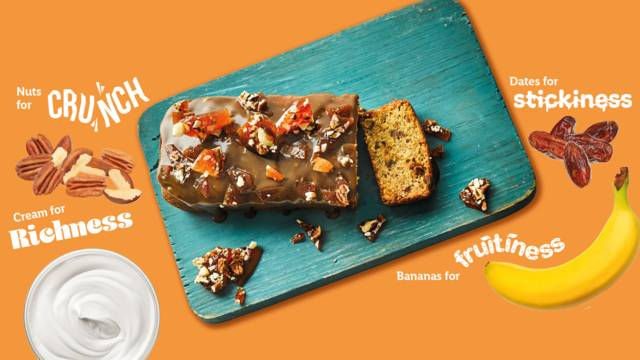 Sticky toffee banana bread with nut brittle