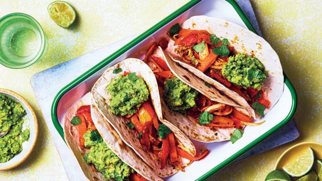 Mixed pepper taco with guacamole and coriander