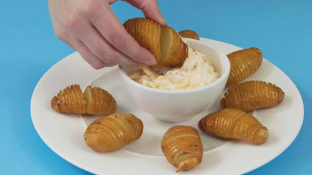 Hasselback Jersey Royals with Chorizo Dip