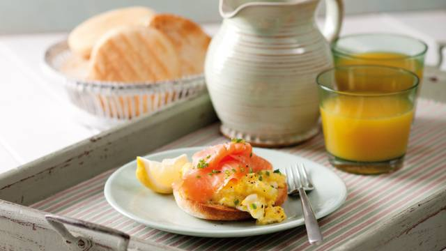 Toasted muffins, smoked salmon and lightly scrambled eggs