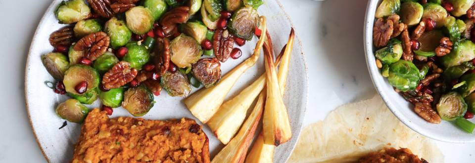 Maple glazed Brussels sprouts and pecans