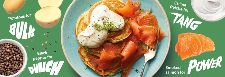 Smoked salmon and potato pancakes  recipe image