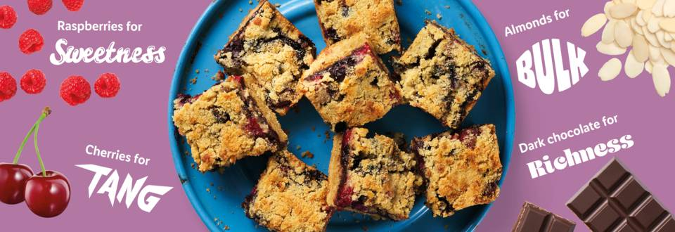 Sweet and summery berry crumble bars recipe image
