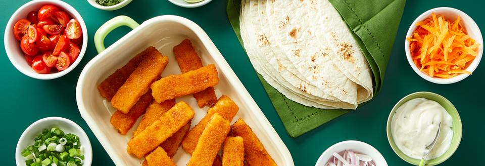 Fish finger tacos with lime mayonnaise