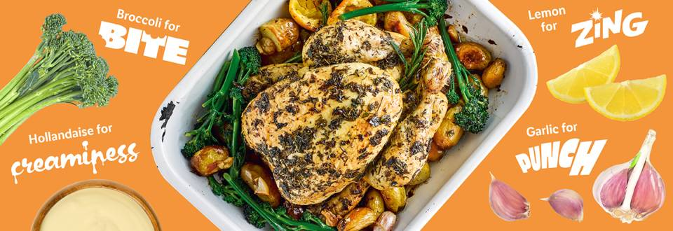 Lemon and herb roast chicken with creamy hollandaise recipe image