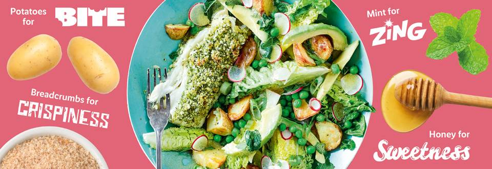 Fresh and zingy herb crumbed cod recipe image